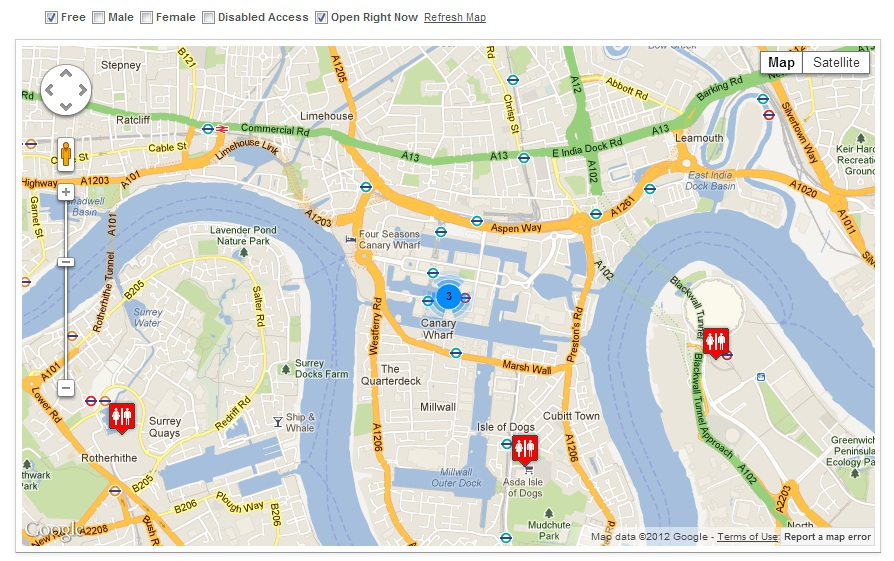 Application de Voyage Toilet Map