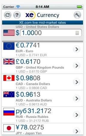 Application de Voyage XE Currency